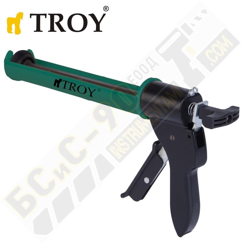 Пистолет за силикон - TROY - усилен