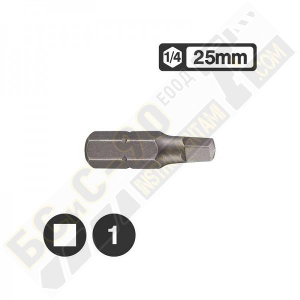 Накрайник 1/4 L25мм квадрат - 124R25